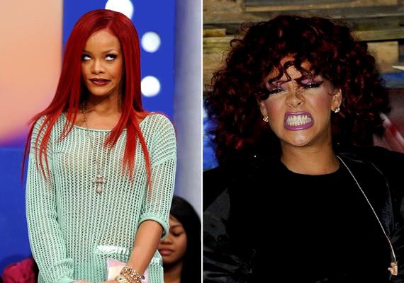 Az egyébként nagyrészt drámai pózokban szereplő Rihanna is szeret bolondozni.