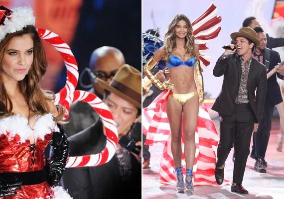 A magyar modell társaival Bruno Mars mellett lépett színpadra.