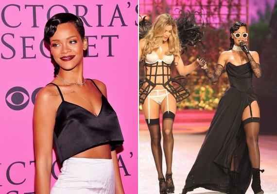 Rihanna fényes, fekete topban és fehér szoknyában érkezett, a bemutatóra pedig harisnyakötőt és földig érő, fekete szoknyát vett fel.
