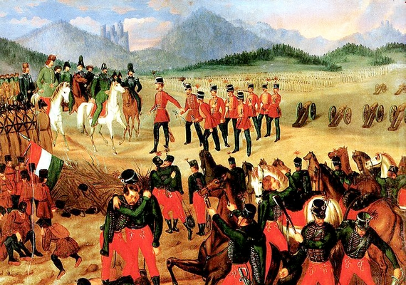 Szkicsák-Klinovszky István festő egyik legismertebb munkája is a világosi fegyverletételt ábrázolja, háttérben a várral.
