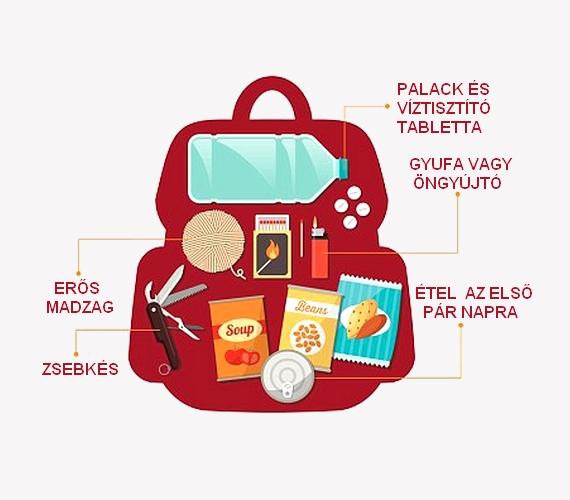 Az asztrobiológus azt javasolja, mindenki pakoljon össze egy hátizsákot, amelybe a képen látható öt tárgyat tegye el, így menekülés esetén csak meg kell ragadni azt, és vinni magunkkal az előbbi helyszínekre.