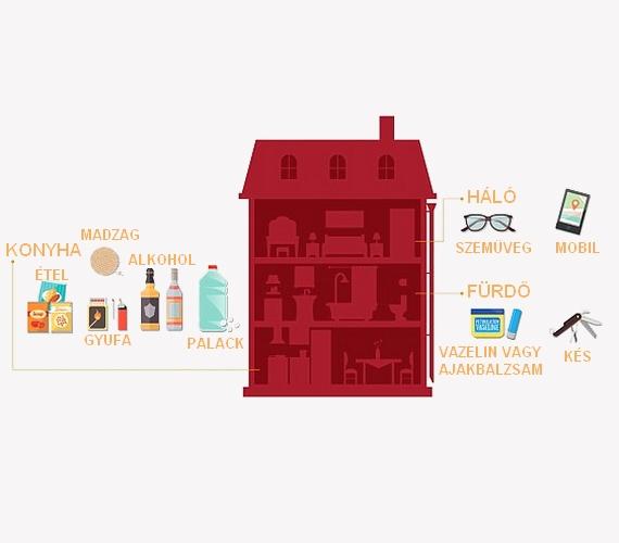 Emellett fontos, hogy a háztartásban is megtalálhatóak legyenek a képen látható tárgyak: a szemüveggel tüzet éleszthetsz, a mobil offline térképe hasznos lehet, a vazelin vagy ajakbalzsam pedig jó a sebgyógyításra.