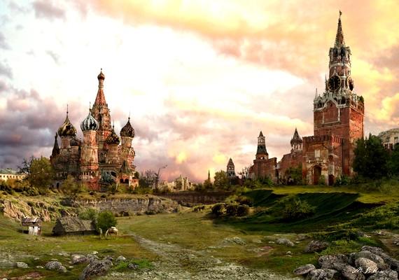 A moszkvai Vörös teret zöld borítja.