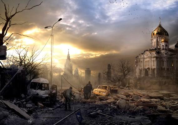 Túlélők a romok és a törmelék között.