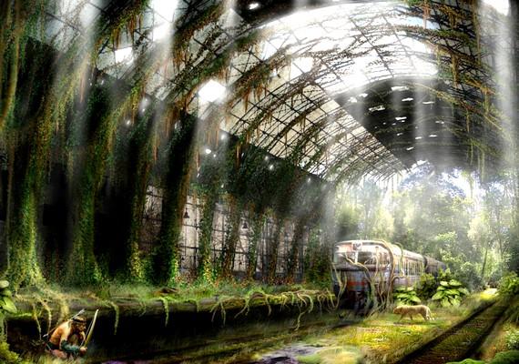 A pályaudvarra is betört a természet, valóságos dzsungellé téve az állomást.