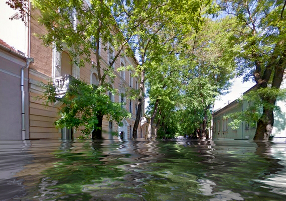 Szeged hangulatos utcáin is fejtetőig érne a víz.
