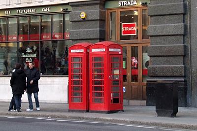 A piros telefonfülkék is London jellegzetességei