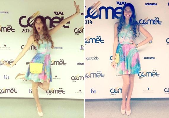 Bogi elhozta a nyarat a Cometre: egy vidám, színes, és nagyon csinosDaige ruhát viselt.