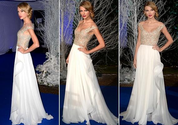 Taylor Swift ismét tündökölt: a 23 éves énekesnő úgy festett csodaszép ruhájában, mint egy hercegnő.