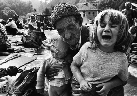 David Turnley képén, mely 1955-ben nyerte el a díjat, egy nagypapa látható, aki unokáit, a bosznia-hercegovinai népirtás kis túlélőit oltalmazza.