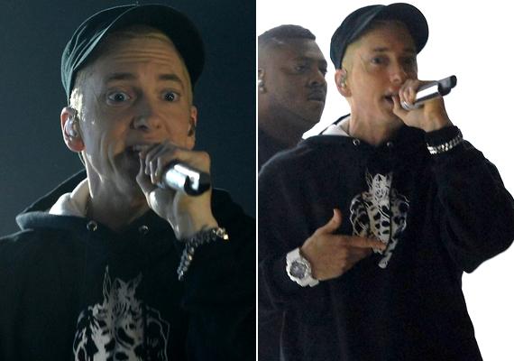 A díjátadón fellépett Eminem is, aki ismét előrukkolt egy Rihannával közös dallal. A 41 éves rapper az utóbbi időben sokat öregedett.