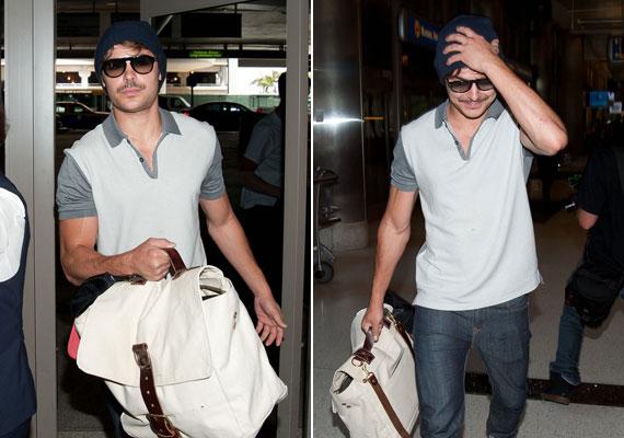 Zac Efron és bajusza megérkezik a Los Angeles-i a reptérre.