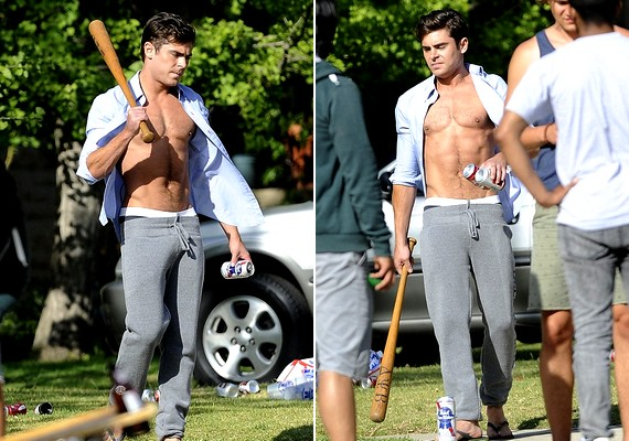 Zac Efron sportos felsőteste láttán elmondhatjuk, hogy jól áll a kezében a baseballütő.