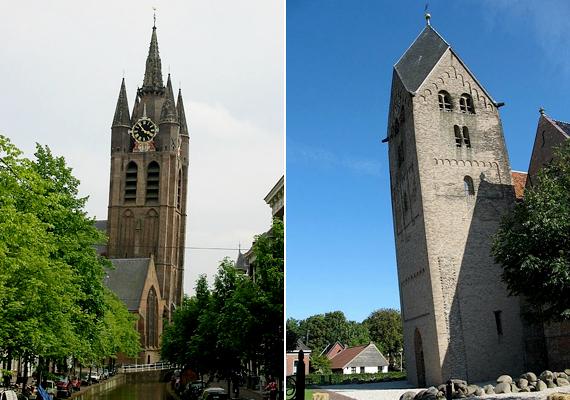 Balra a hollandiai Delft öreg templomának tornya, jobbra pedig a szintén holland Bedum ferde tornya látható.