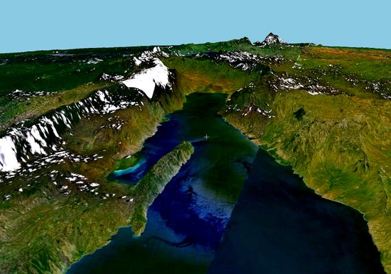 A Nasa grafikája. A hasadékvölgy szélessége általában 30-100 kilométer, mélysége pedig néhány száz métertől több ezer méterig terjed.