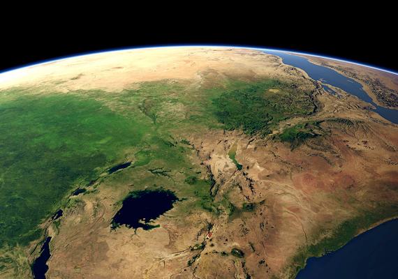 Jól látszanak az afrikai földkérgen keletkezett törések. A tudósok szerint néhány millió év múlva a távolodás miatt Kelet-Afrika le is hasadhat Afrikáról.