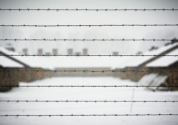 Szögesdrót a birkenaui megsemmisítő táborban, a lengyelországi Brzezinkában 2015. január 25-én.