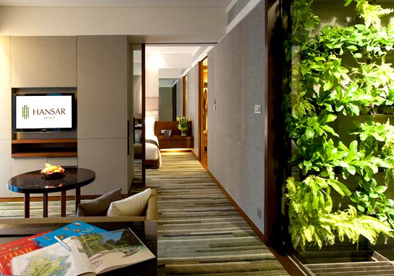 A bangkoki Hansar ötcsillagos butikhotel. Passzív építészeti megoldásaival a függőleges légáramlatokat kihasználva hűti a nyitott folyosókat, amelyeket trópusi növények tesznek még hűvösebbé.