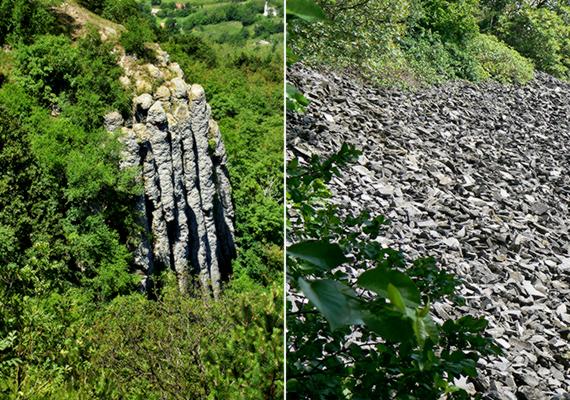 Az ország leghíresebb bazaltképződményeit tudhatja magáénak a Szent György-hegy: a képeken bazaltorgonái, illetve az alattuk található, letöredezett korongok kőtengere látható.