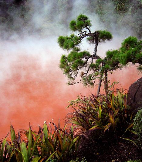 Beppu hőforrásai, Japán  A Japánban található Beppu körül több mint 3500 gejzír és hőforrás található, melyek egytől egyig vörösen izzó, élénk színekben pompáznak, köszönhetően a bennük fortyogó ásványi anyagoknak. A földi pokolként is emlegetett terület ennek ellenére kedvelt fürdőhely.