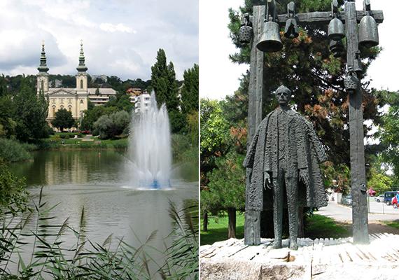Balra a tó szökőkútja, jobbra pedig Bartók Béla szobra látható.