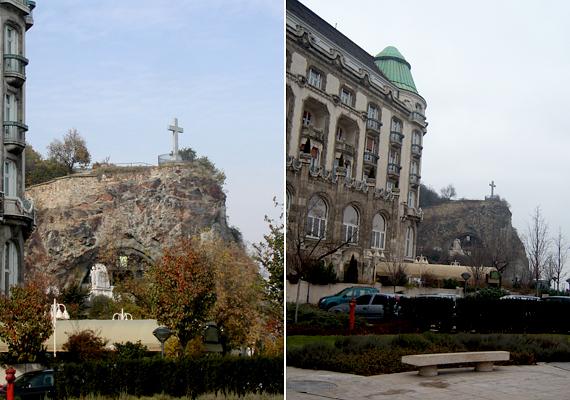 A Sziklatemplom ősszel és télen. A Gellért-hegy természetes üregét Lux Kálmán tervei alapján alakították templommá, később pedig bővítették is - ezt a hegy belsejében elvégzett robbantások által sikerült kivitelezni.
