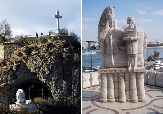 A jobb oldali képen a barlangtemplom előtt álló Szent István-szobor látható. Érdekesség, hogy itt őrzik a rend egyik legfontosabb ereklyéjét, Remete Szent Pál lábszárcsontját is. Ha többet szeretnél tudni a Sziklatemplomról, kattints ide!