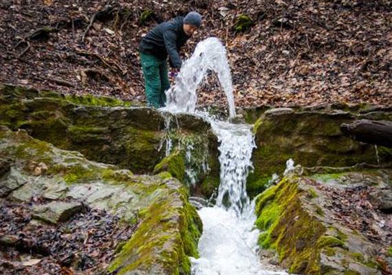 A Vöröskő-forrás vize olyan tiszta, hogy akár ivásra is alkalmas.