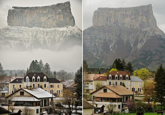 Az Aiguille-hegy a bal oldali képen olyan, mintha a levegőben lebegne, támasz nélkül. Persze, ha a ködfelhő nem takarja el, látszik, hogy szó sincs erről.