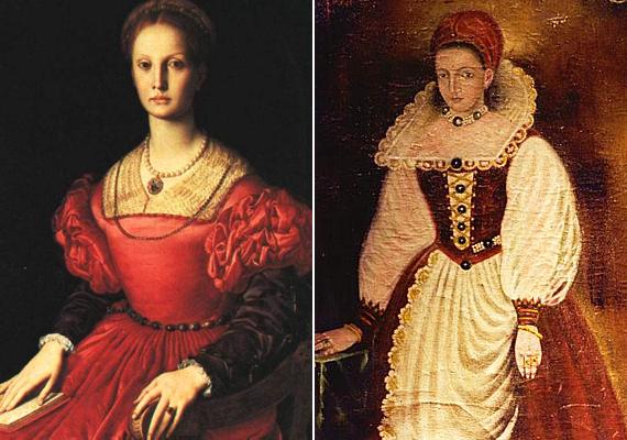 Az asszony kétféle ábrázolása. A festményekről lerí, hogy Báthory Erzsébet kora ideálja szerint gyönyörű nő lehetett.