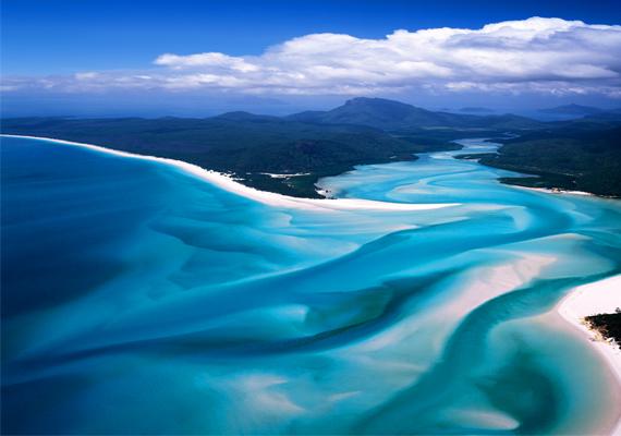 Whiteheaven-part  Az ausztráliai Whiteheaven-part, vagyis Fehér Mennyország-part nem hiába kapta nevét, hiszen lélegzetelállítóan gyönyörű a fehér homok és a türkizszínű víz összhatása. A tenger hordta ide a finom szemcséjű homokot.