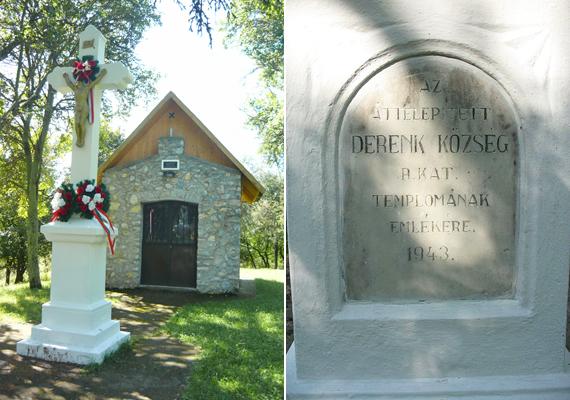A kápolna az eredeti templom helyére épült - mint egyfajta mementó. A táblát is erre emlékezve állították.