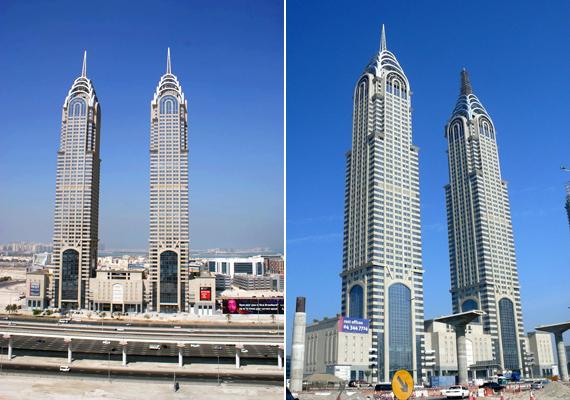 Az 53 emeletes Al-Kazim tornyok Dubai médiaközpontjában állnak. A két torony teljesen egyforma, kinézetre pedig a New Yorkban álló Chrysler Buildings irodaépületeire hasonlítanak.