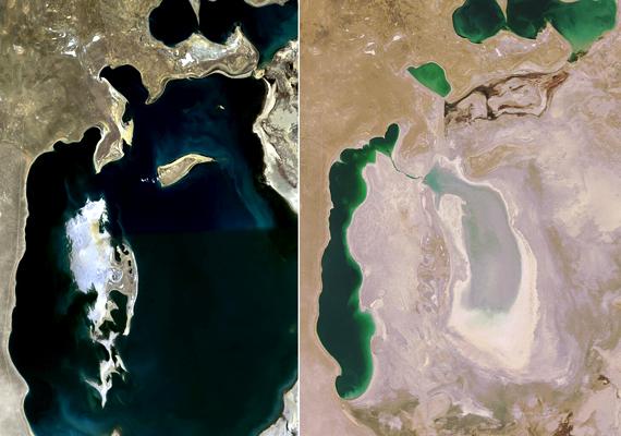 Az Aral-tó egykor a Föld negyedik legnagyobb tavának számított, mára azonban jelentős része elpárolgott: a különbség az 1989-as és a 2008-as kiterjedése között óriási. Ezt nem csupán a globális felmelegedés okozhatta, hanem az is, hogy a környező folyók vízkészletét túlzottan kihasználták. Kattints, és nézd meg, milyenné alakult át az évek során!