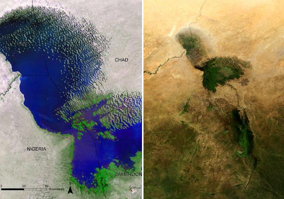 Az afrikai Csád-tavat egykor a világ hatodik legnagyobb tavaként tartották számon, előbbihez hasonló okok miatt azonban 1972-től napjainkig óriásit zsugorodott, ma az egykori méretének csupán 5%-a. Ide kattintva további eltűnő, eltünedező tavakat is megnézhetsz.