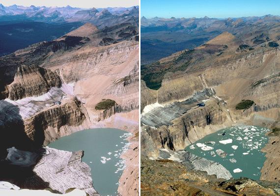 Az amerikai Montana államban fekvő Glacier Nemzeti Parkban is a melegedés okozza a gleccserek fokozatos eltűnését. A képeken láthatod, hogyan változott meg ezek egyike, a Grinnell-gleccser az 1998 és 2005 közötti időszakban.