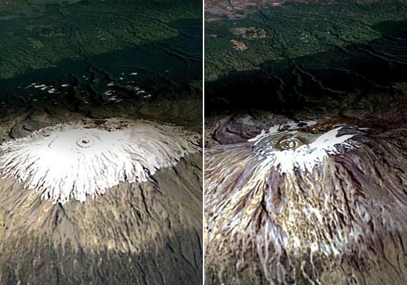 A Kilimandzsáró jégsapkái is a globális felmelegedés miatt olvadnak. A képen jól látszik, hogy milyen drasztikussá vált a helyzet mindössze hét év alatt, 1993 és 2000 között. Itt olvashatsz arról, hogy milyen károkat okoz még a jelenség.