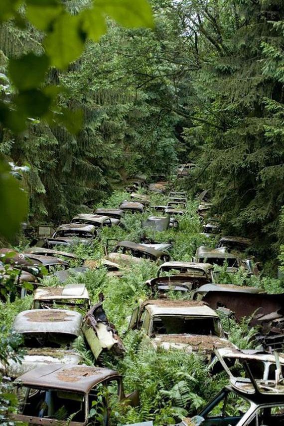 A belga Ardennes erdőségében megbúvó titokzatos autótemető története a második világháborúig nyúlik vissza. A klasszikus amerikai autókat ugyanis tulajdonosaik a háború lezárultával parkolták le a fák alatt, anyagi okokból elfeledkezve hazaszállításról. A szellemutat az ország mára valamelyest felszámolta, egyes részei azonban még mindig tanúskodnak a múltról.