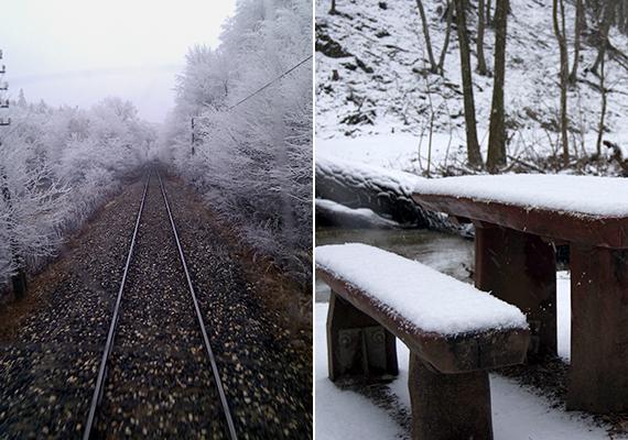 A Bakony fővárosában, egyúttal az ország legmagasabban fekvő városában, Zircen szintén gyakoribbak a havazások, hószállingózások, csakúgy, mint a hegység más területein. A képeken a Zirc előtti vasút, illetve a Keleti-Bakonyban található Gaja-szurdok behavazott pihenőhelye látható.