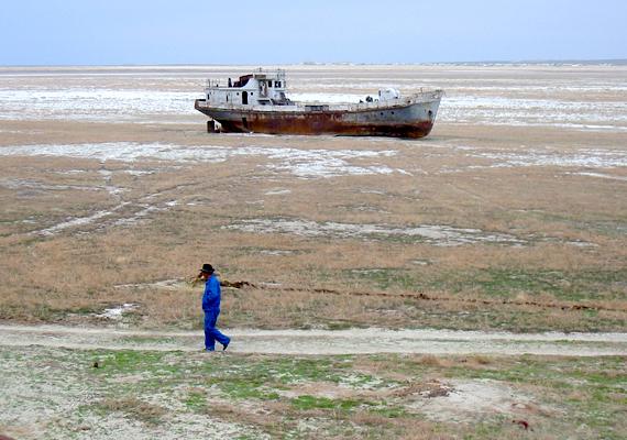 Az Aral-tavat is szokás az éghajlatváltozás egyik jellemző példájaként emlegetni. A Kazahsztán és Üzbegisztán határán lévő tó egykor a világ egyik legnagyobb tava volt, mára azonban vízmennyiségének 90%-át, területének pedig 75%-át elveszítette.