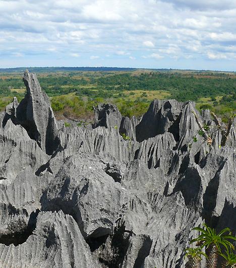 Tsingy de Bemaraha, MadagaszkárAmi a különleges madagaszkári, szürke mészkőformációt a többi hasonló, tűhegyes sziklákkal tarkított hegyvidéktől megkülönbözteti, az egyrészt az, hogy alakja messziről tökéletes mása egy hatalmas hajkefének, másrészt csipkézett és kilyuggatott belső része, melynek láttán az ideutazók könnyen a Holdon érezhetik magukat.