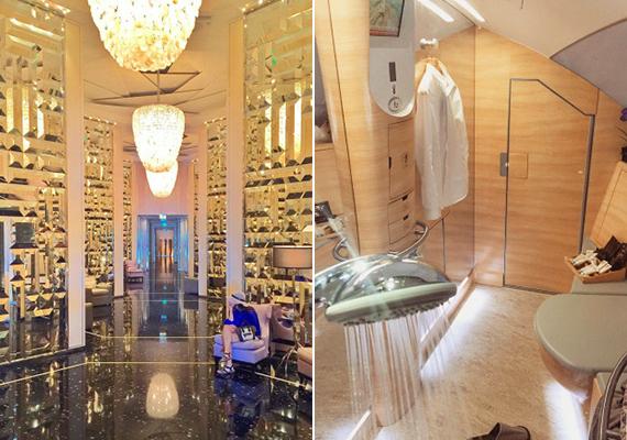 Luxus a földön és zuhanyzó az égben. A kép készítőjének ráadásul ez csak a második kedvenc hotellobbija.
