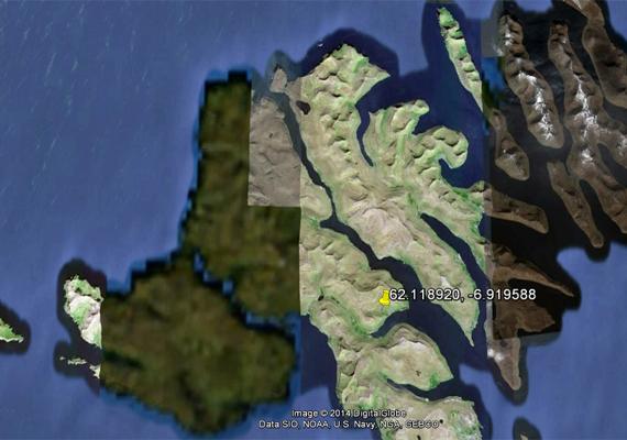 Az Észak-Atlanti-óceánon, Dánia közelében fekvő Feröer-szigetek egy része jól láthatóan elmosódott, de hogy miért, azt nem lehet tudni.