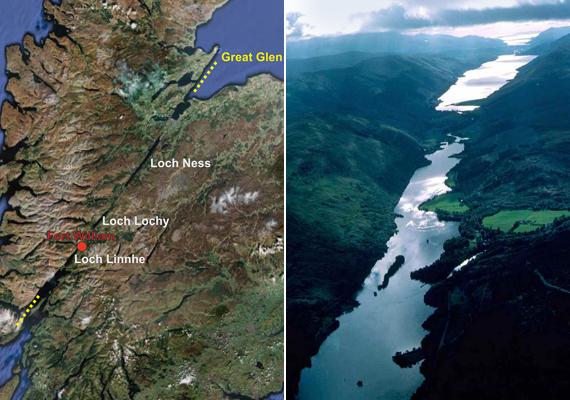 A skóciai törésvonalak többségének létezése a felszínen is kivehető, köszönhetően a jellegzetes természeti formáknak. A Great Glen olyan, mintha csak egy bárddal hasították volna ketté a földet, az Atlanti-óceántól az Északi-tengerig, átlós irányban.