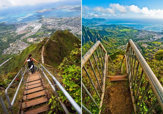 A lépcsősor néhol egészen meredeken vezet felfelé, ami még a tapasztalt mászóknak is gondot okozhat.