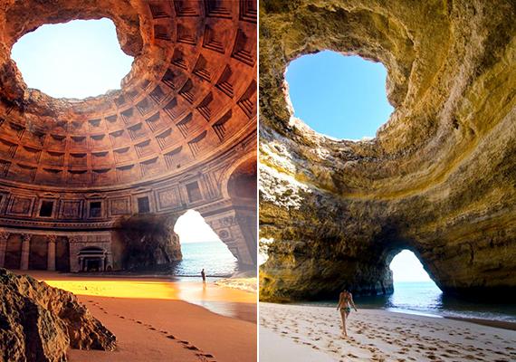 A bal oldali képen állítólag a görögországi Lysistrata elfeledett temploma látható, ilyen hely azonban nem létezik, amit a jobb oldali, eredeti helyszín, a portugál Benagil-barlang valódi képe is bizonyít.