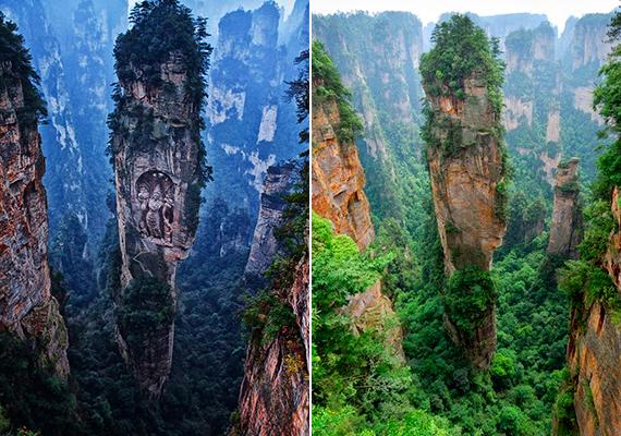 A bhutáni Ngyen Khag Taktsang-monostorként aposztrofált bal oldali kép szintén hamisítvány. Bár a szikla valódi - a kínai Zhangjiajie National Forest Parkban található -, semmiféle faragvány nem látható rajta.