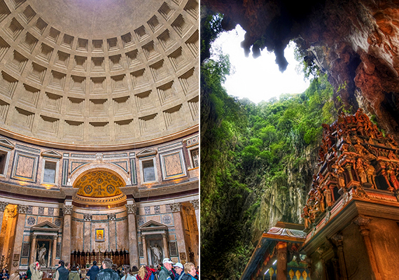 A hamis képen látható mennyezet a római Pantheonból származik - bal oldali kép -, léteznek azonban a valóságban is hihetetlenül gyönyörű barlangi templomok, ilyenek például a malajziai Batu-barlangok is, melyek valódi részlete látható a jobb oldali képen.