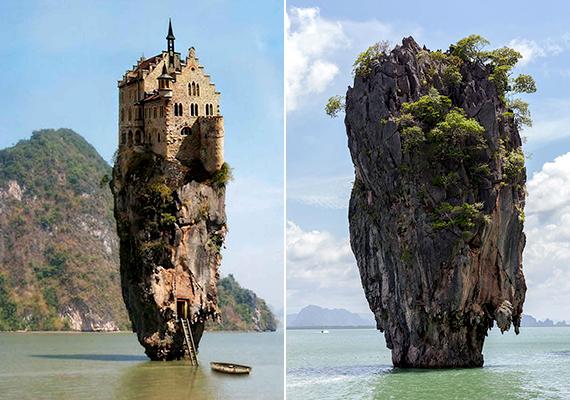 A bal oldalon szereplő meseszép hely a dublini kastélyszigetként vált híressé, és bár már 2011-ben bebizonyították, hogy nem valódi, még ma is sokan bedőlnek neki. A szikla azonban a valóságban is létezik - ahogy a jobb oldali képen is látható -, a James Bond-szigetként is emlegetett, thaiföldi Koh Tapun található.