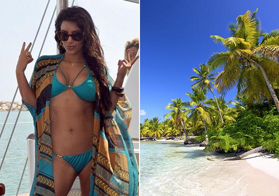 Kim Kardashian a karibi Dominikai Köztársaság fehér homokját, pálmafáit és szikrázóan kék vizét választotta.
